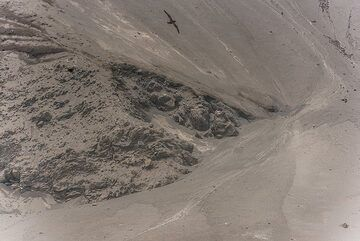 Close-up of the contact between older rocks and the new deposit. (Photo: Tom Pfeiffer)