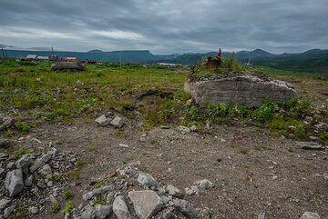 Ruins of foundations of houses from the previous town destroyed by the 1952 tsunami. (Photo: Tom Pfeiffer)
