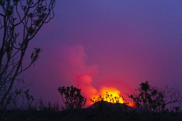 View from the campsite, the strong glow from the lava lake inside the cone is illuminating the sky above it. (Photo: Tom Pfeiffer)