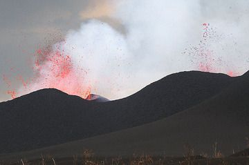 Western and middle crater of Nyamuragira volcano in eruption. (Photo: Paul Hloben)