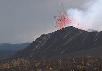 Western crater of Nzymuragira volcano in eruption Nov 2011. (Photo: Paul Hloben)