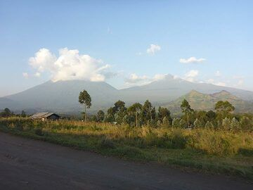 Mikeno volcano (left), Karisimbi volcano (right) and a cinder cone (centre right) in the warm evening light of the 10th of June when returned back to Goma from the mountain gorilla tracking. (Photo: Ingrid Smet)