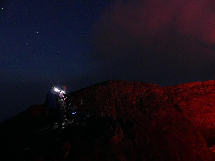 Observing and photographing Nyiragongo´s lava lake in the early hours of 8 June 2017. (Photo: Ingrid Smet)