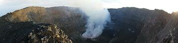 Panorama of Nyiragongo´s summit caldera in the early morning light of 8 June 2017, looking towards the northwest. (Photo: Ingrid Smet)