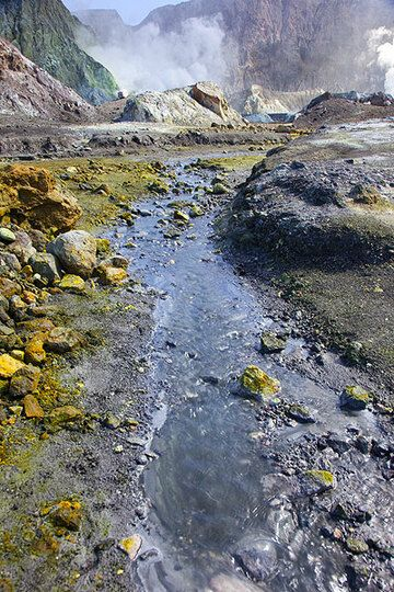 Small river coming from the crater of White Island (Photo: Tom Pfeiffer)