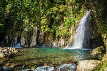 24 Feb: the enchanting Vera Falls at the foot of neighboring Mt Malinao Volcano NE of Mayon are a pleasant day-trip from Legazpi (about 1.5 hrs drive). (Photo: Tom Pfeiffer)