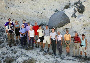 Group photos under a ballistic block (Photo: Tom Pfeiffer)