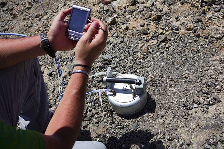 Italian volcanologists measure diffuse CO2 emission from the ground. (Photo: Tom Pfeiffer)