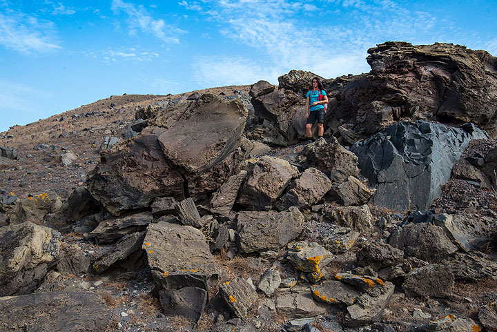 Large bread-crust bomb; apparently, it had formed by agglutinating layers of lava around a large lithic core. (Photo: Tom Pfeiffer)