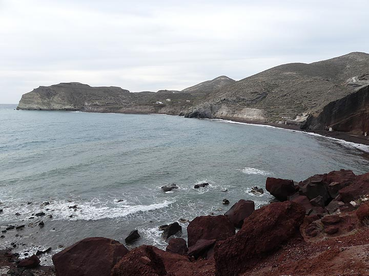 View from 'Red Beach' towards the domed landscape of Aktrori, shaped this way by the earliest volcanic activity on the island. (Photo: Ingrid Smet)