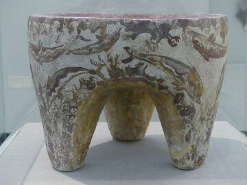 Typical dolphin motive on a ca 3700 year old table at the Museum of prehistoric Thera. (Photo: Ingrid Smet)