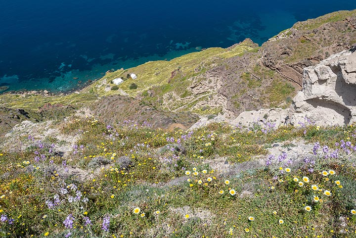 Plaka bay, where the basement schists crop out beneath the layers of pumice. (Photo: Tom Pfeiffer)