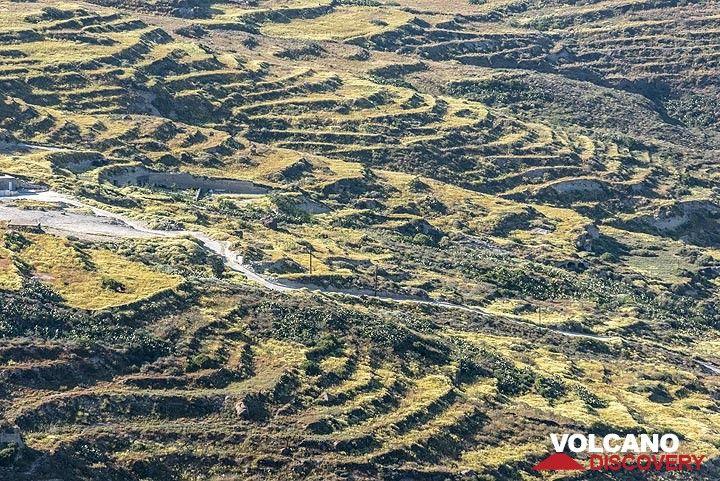 Terraced fields in northern Santorini (Photo: Tom Pfeiffer)