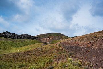 Craters left by explosions during the 1925-28 eruption of Nea Kameni. (Photo: Tom Pfeiffer)