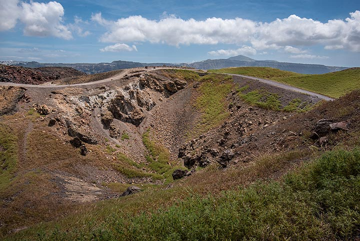 Georgios crater on Nea Kameni with still green vegetation. (Photo: Tom Pfeiffer)