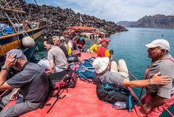 Boarding Captain Sostis' kaiki (Photo: Tom Pfeiffer)