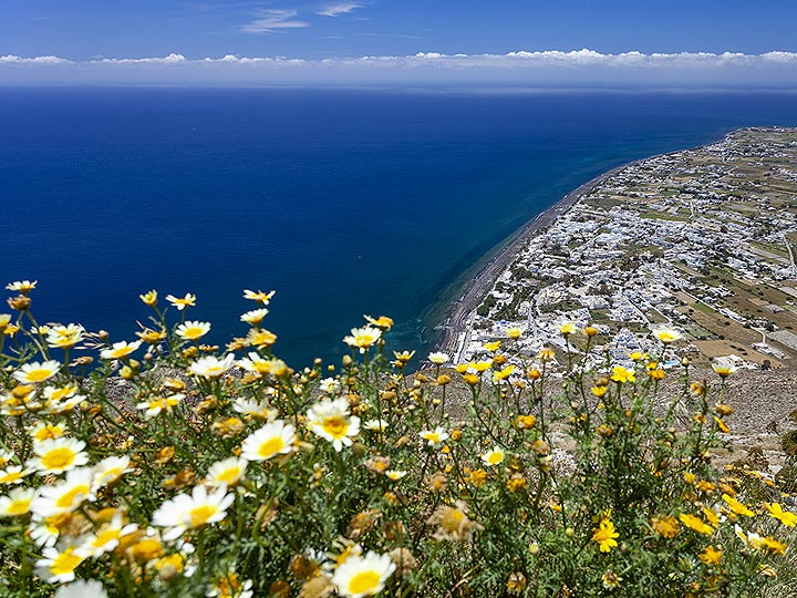 Spring flowers and a view to the beach of Perissa. (Photo: Tobias Schorr)