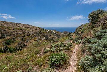 Part of the old trail from Loumaravi's summit near Akrotiri to Agia Markella chapel near Kambia beach. (Photo: Tom Pfeiffer)