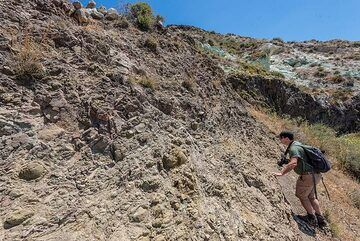 Tobias studying the darker lavas. (Photo: Tom Pfeiffer)