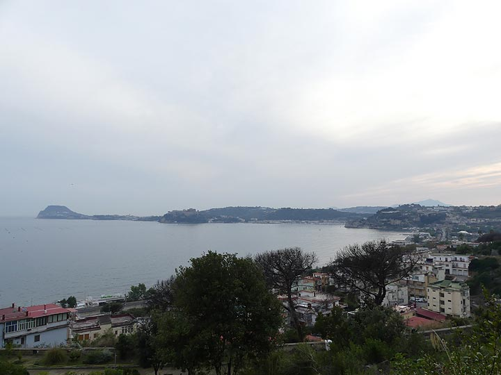 View from the foot of the 1538 Monte Nuovo scoria cone towards the western side of the bay of Pozzuoli and Capo Miseno. (Photo: Ingrid Smet)