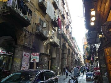 Saying goodbye to Naples' busy historic streets with balconies and laundry before we set of to the Eolian islands. (Photo: Ingrid Smet)