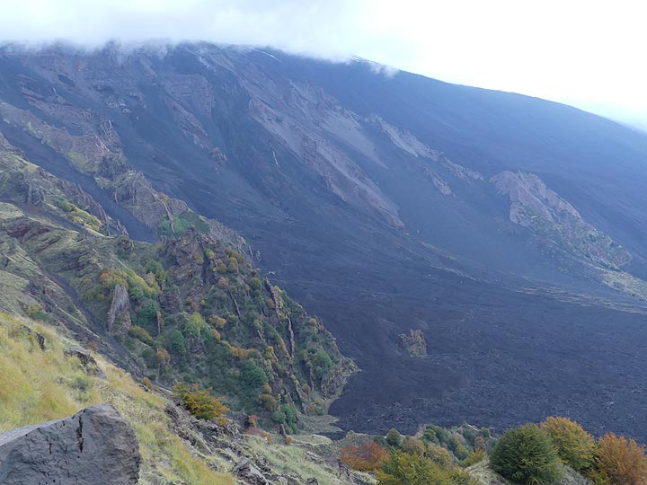 The darker lava flows running down into the Sciara del Fuoco (centre) are the most recent ones whereas the partially overgrown volcanic deposits (left) are crosscut by subvertical dykes and date back to older volcanic phases (Photo: Ingrid Smet)