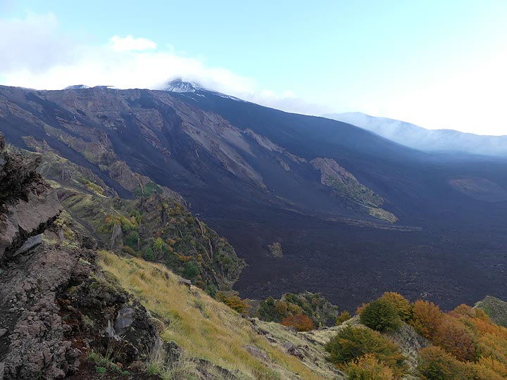 The Valle del Bove is a large collapse scar on Etna's eastern flank and which has been filled with lava flows from Etna's more powerful summit eruptions of the past decades. (Photo: Ingrid Smet)