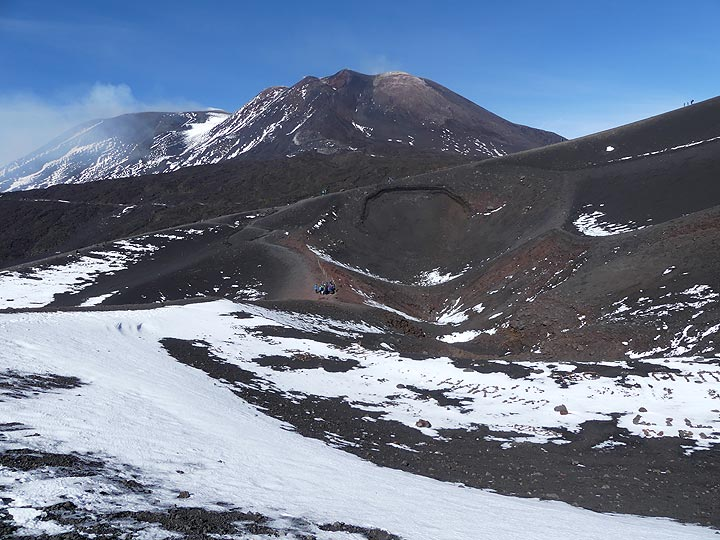 Looking back from the 2002 - 2003 fissure eruption site (aligned vents in the centre- towards the SE crater complex. (Photo: Ingrid Smet)