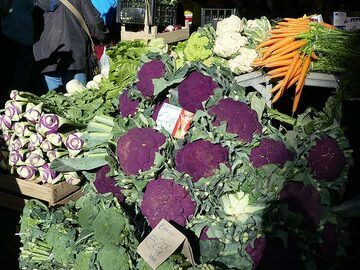 Colourful local produce grown on the fertile volcanic soils of Mt Etna. (Photo: Ingrid Smet)