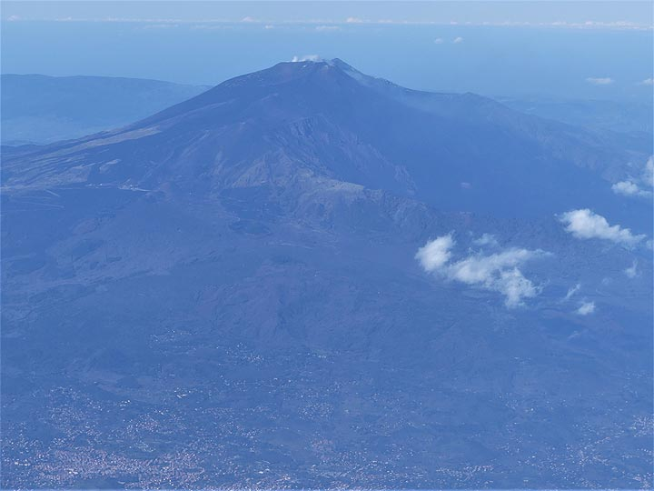 Close up aerial view of the upper flanks of Mt Etna and the volcano's summit area. (Photo: Ingrid Smet)