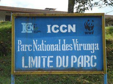 Day 3 - The bright blue border plates of Virunga National Park at the Kibati post (Photo: Ingrid Smet)