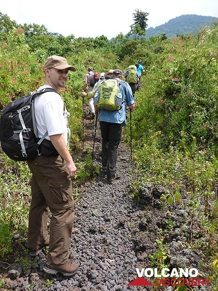 Day 3 - As vegetation gets more scarce we follow the path on loose lava material from old eruptions (Photo: Ingrid Smet)