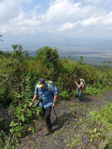 Day 3 - Hiking up the lower slopes of Nyiragongo volcano (Photo: Ingrid Smet)