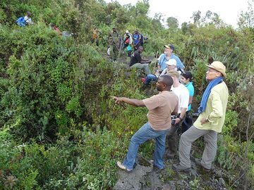 Day 3 - The third resting point at ca 2750 m asl is near the large fracture from which the fissure eruption on Nyiragongo´s southern slopes occurred in 2002 (Photo: Ingrid Smet)