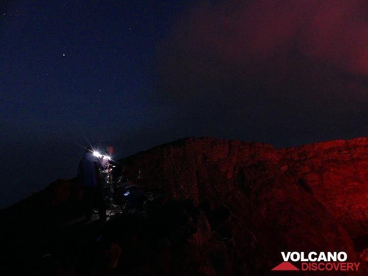 Day 5 - Nighttime photography of the lava lake from the summit caldera rim (Photo: Ingrid Smet)