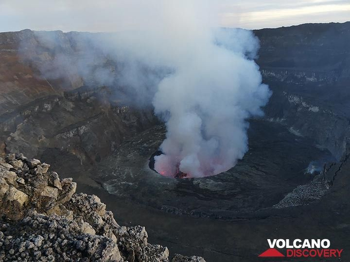 Day 5 - morning view of the central part of Nyiragongo´s summit caldera and its active lava lake (Photo: Ingrid Smet)