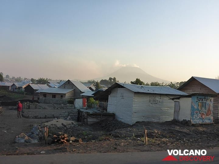 Day 7 - Early morning street view in Goma with Nyiragongo´s silhouette in the background (Photo: Ingrid Smet)