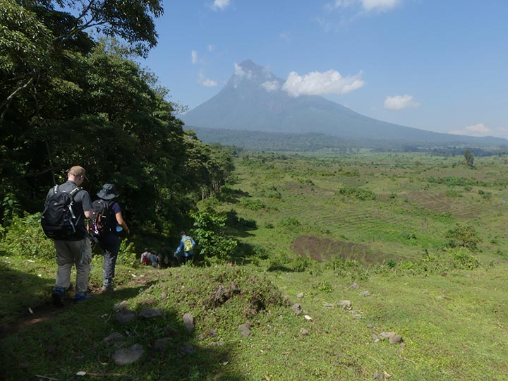 Day 7 - View onto Mikeno volcano on the first part of the hike towards the Natural Park boundary (Photo: Ingrid Smet)