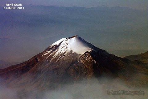 Pico de Orizaba as seen from a plane. It is currently a dormant volcano having last erupted in 1846 but at 5564m asl it is also the highest peak in Mexico and the highest volcano of North America. (Photo: RGoadPhotography)