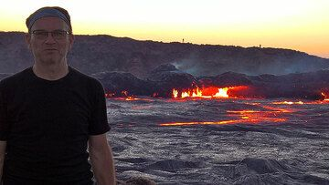 At the rim of Erta Ale volcano's lava lake (30 Dec 2016) (Photo: Jens-Wolfram Erben)