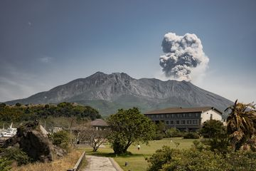 Sakurajima with a moderate ash emission seen from the south near our hotel (March 2018) (Photo: Ivana Dorn)