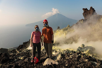 Unforgettable experience to climb to the top of Anak Krakatau, Rakata in the background. (Photo: Ivana Dorn)