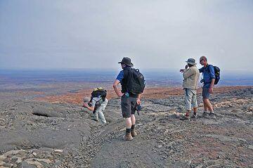 Exploring and studying older lava flow deposits in the Danakil desert  (Photo: Anastasia)