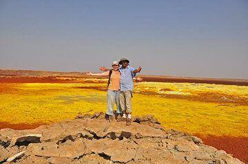 Photographer Anastasia together with expedition leader Enku at Dallol (Photo: Anastasia)