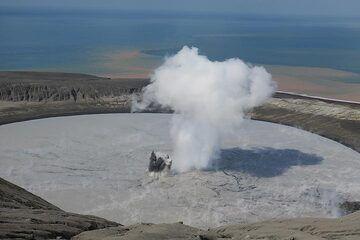 The crater lake seen from the summit of Anak Krakatau (Photo: AndreyNikiforov)