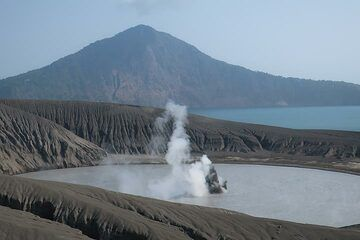 Rakata Island in the background with the erupting crater lake in the center of image. (Photo: AndreyNikiforov)