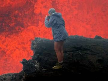Frederique at the crater of Marum volcano (Ambrym) during our volcano tour on Vanuatu in Aug 2012 (note that the background was improved with photoshop;-) (Photo: Dick)