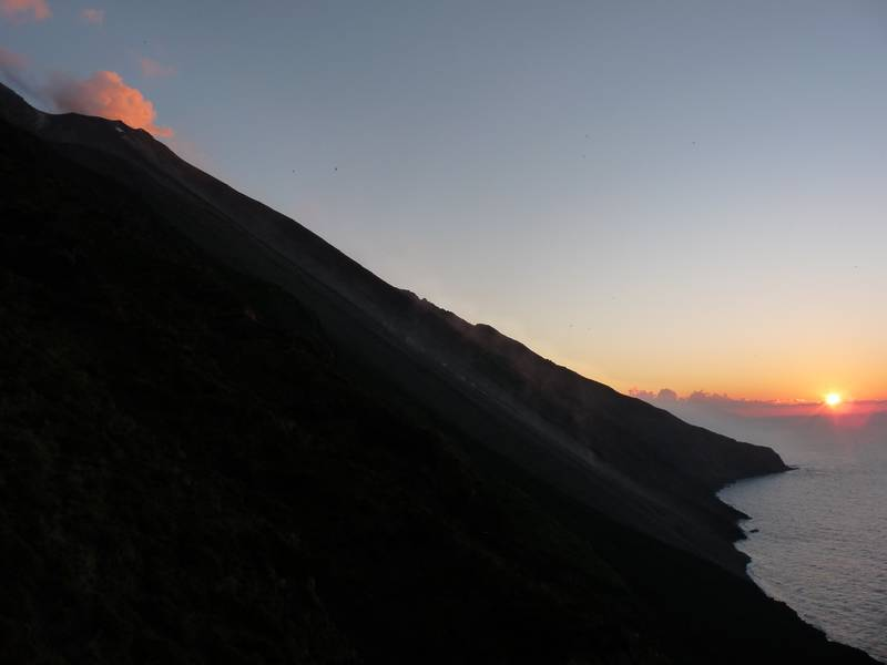 Stromboli's Sciara del Fuocco at sunset, 7th of January 2013. (Photo: Ingrid)