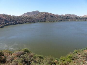 DAY 1: One of several crater lakes (filled with both hydrothermal and rain water) along the way from Addis Ababa towards Awash National Park... (Photo: Ingrid)