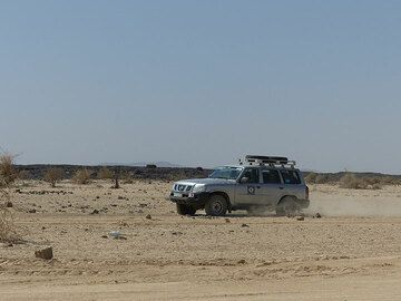 DAY 8:From Erta Ale to Amadelah . on the road,  nothing but silty dusty sand and volcanic mountains (Photo: Ingrid)